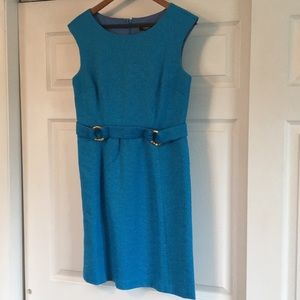 Bright blue Premise dress with Gold accents